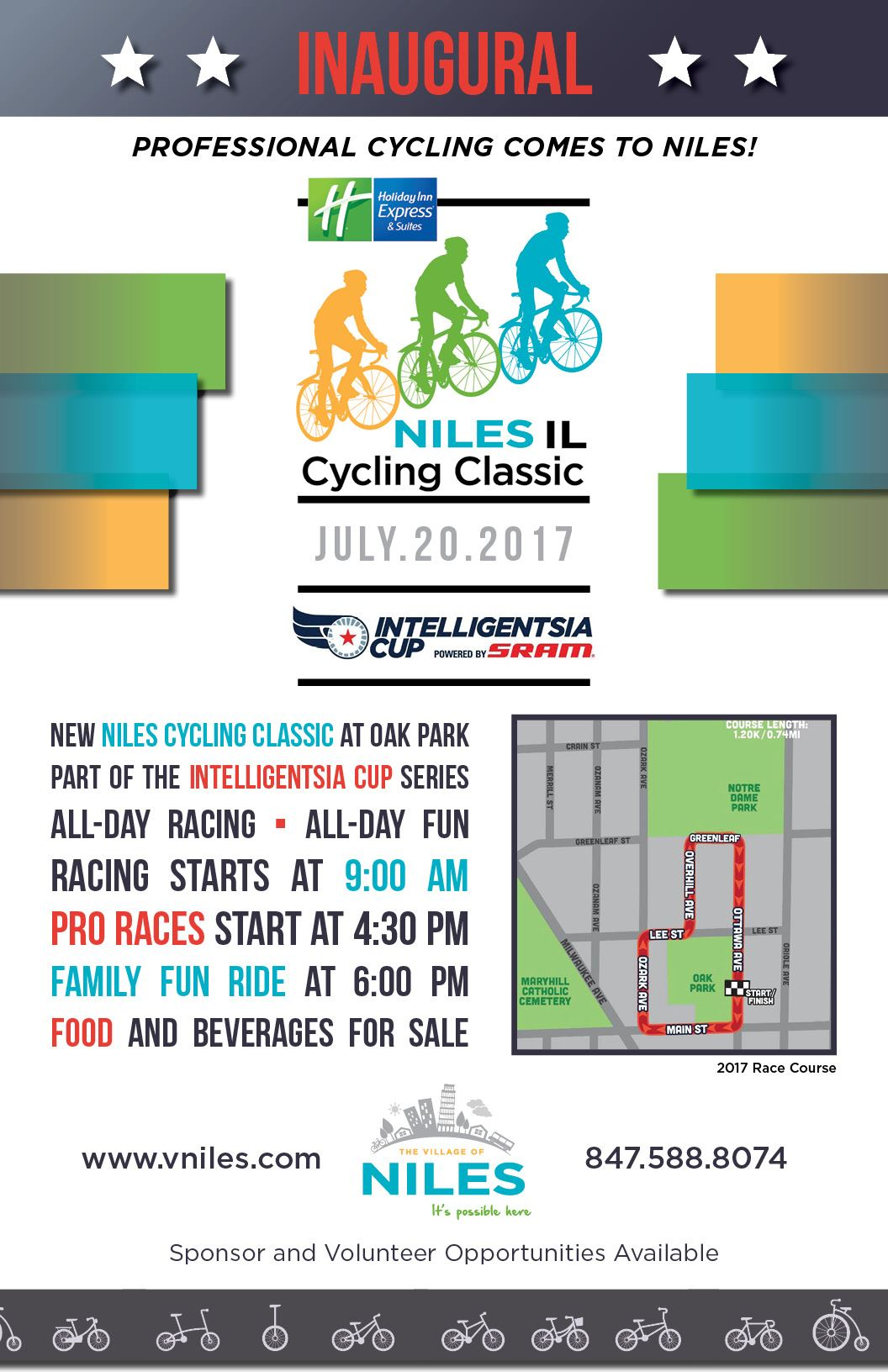A poster for the Niles Cycling Classic, which takes place on July 20 at Oak Park.