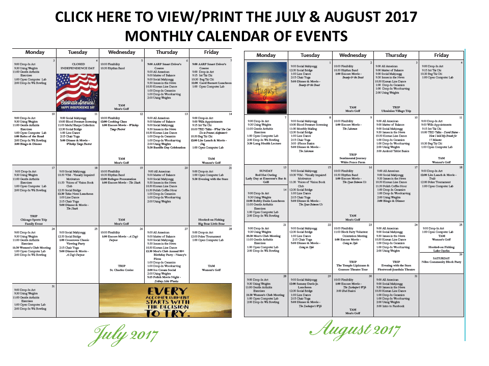 JULY AUGUST CALENDARS