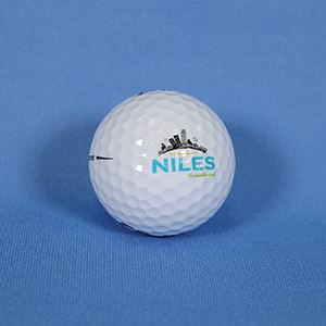 Golf ball with Village of Niles logo
