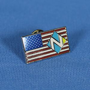 Lapel pin with American flag and Village of Niles stylized 'N'