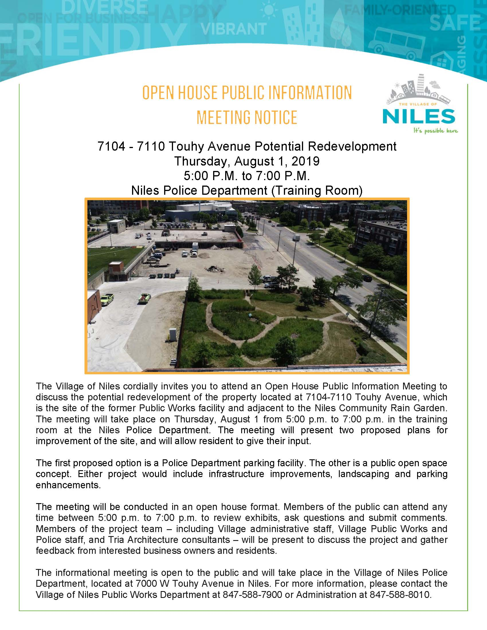 Touhy Ave. Aug 1 Open House Flyer