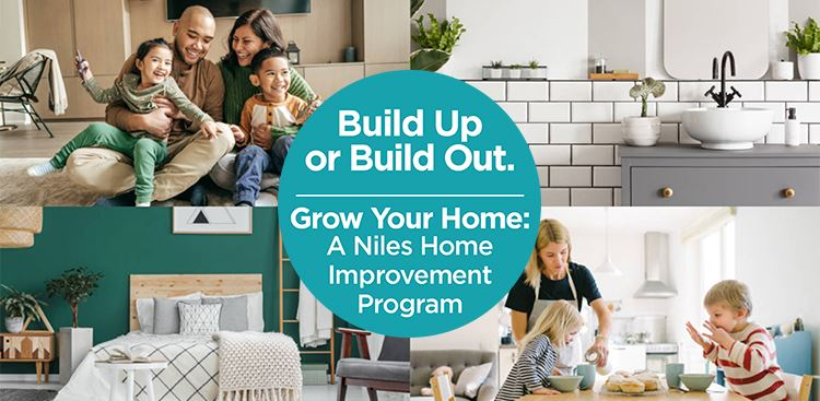 Grow Your Home. Pictures show families in modern, renovated homes.