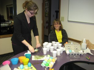 Dying Easter Eggs with the Social Workers - Kristen and Deanna