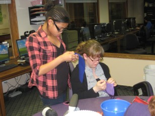 Making Cell Phone Pouches with the Social Workers - Kristen and Deanna