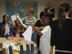 Tie-dying t-shirts with Miri and Deanna, the social work interns from Niles Family Services