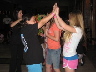 10:30 p.m. - Girls dancing along with the DJ's music